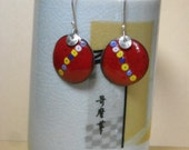Red Sterling Silver and Enameled Copper Earrings