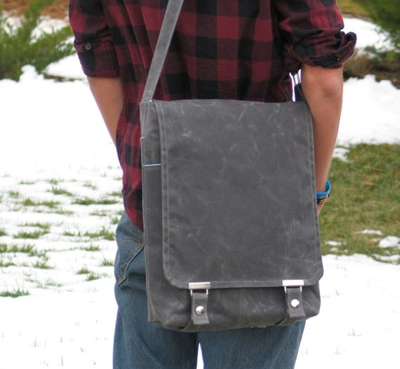 The Satchel- in Gray Waxed Canvas and Aqua Canvas Lining- Messenger for Men and Women