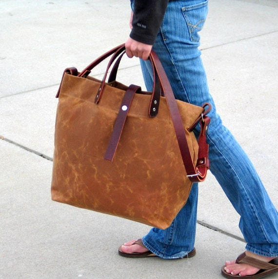 Waxed Canvas Tote with Leather Handles and Detachable Leather