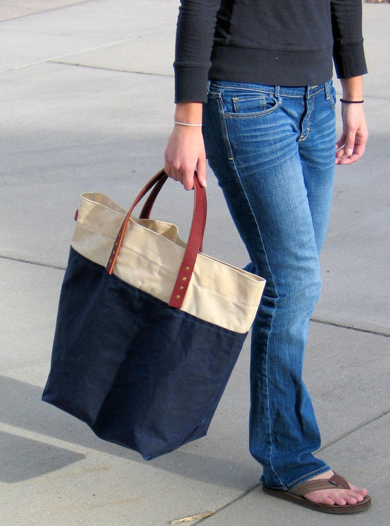 Large Waxed Canvas Tote with Leather Handles- Navy and Cream