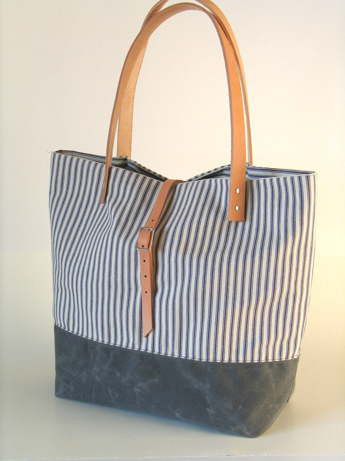 Waxed Canvas And Ticking Stripe Tote With Leather Handles