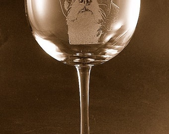Etched Boston Terrier on Elegant Wine Glass (set of 2)