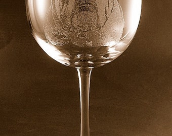 Etched English Bulldog on Elegant Wine Glass (set of 2)