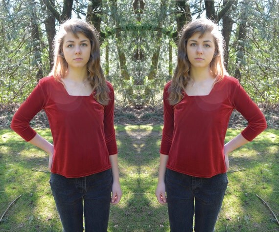 Vintage Apple Velvet Top S