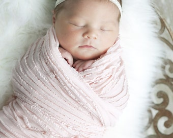 Light Pink Mini Ruffle Baby Blanket-READY to SHIP