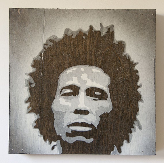 Young Bob Marley Multilayer Graffiti Stencil Painting on Wood