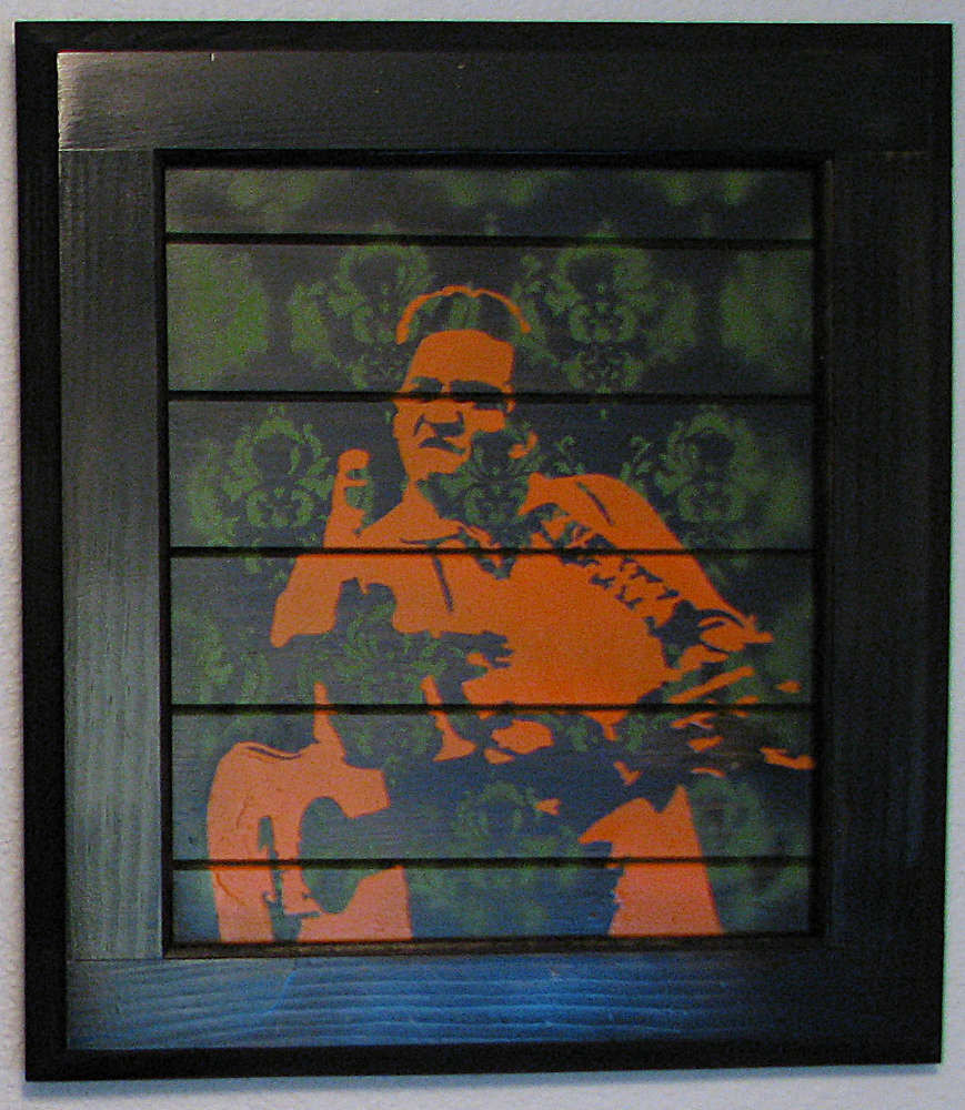 Johnny Cash Middle Finger Multilayer Graffiti Stencil on Black
