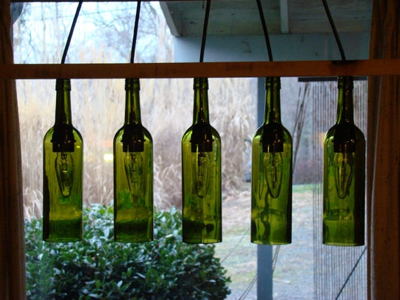 Maple Seperator Wine Bottle Chandelier