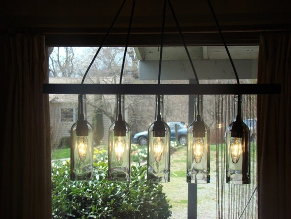Walnut Seperator Wine Bottle Chandelier