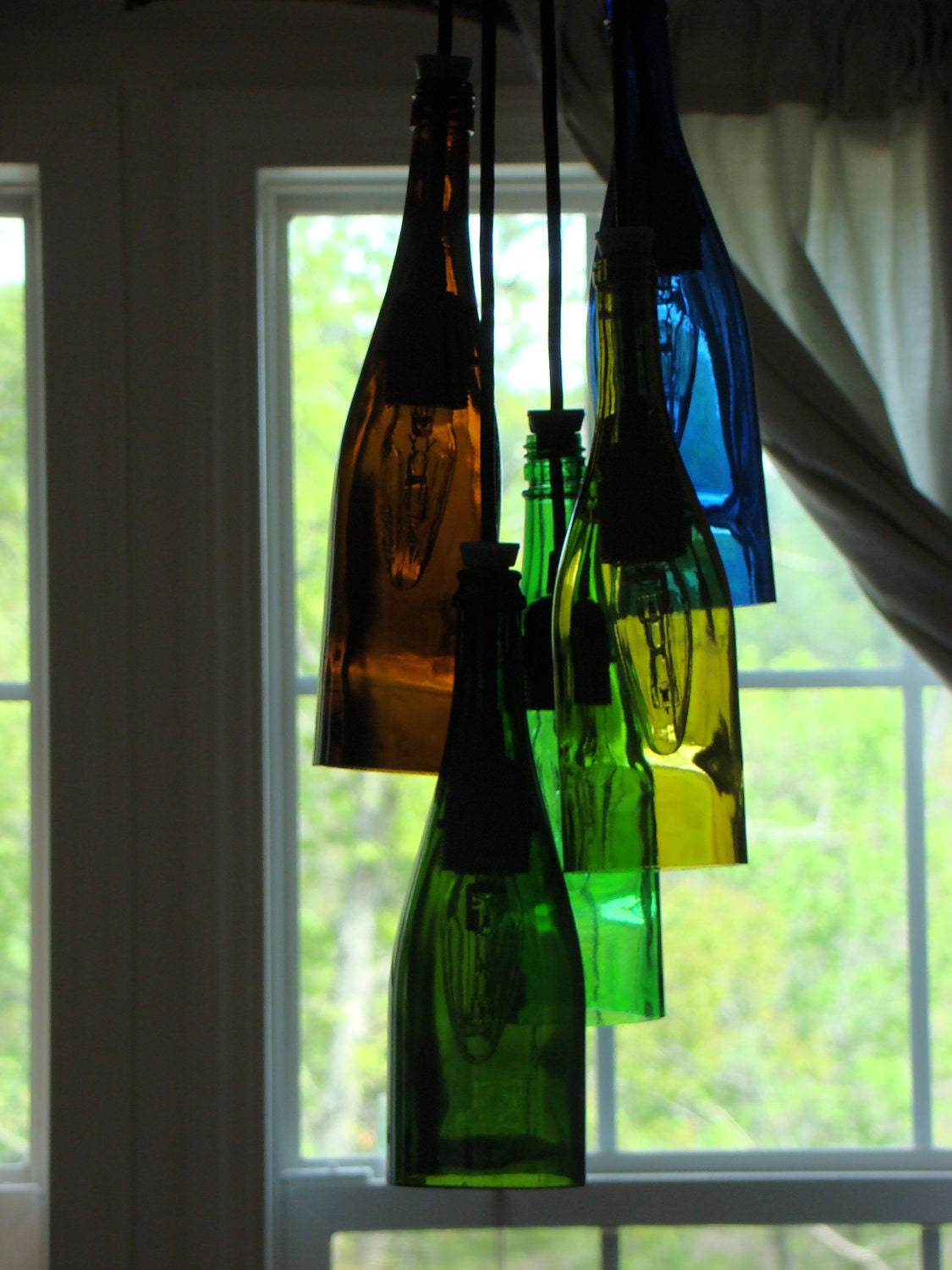cluster wine bottle chandelier. Black Bedroom Furniture Sets. Home Design Ideas