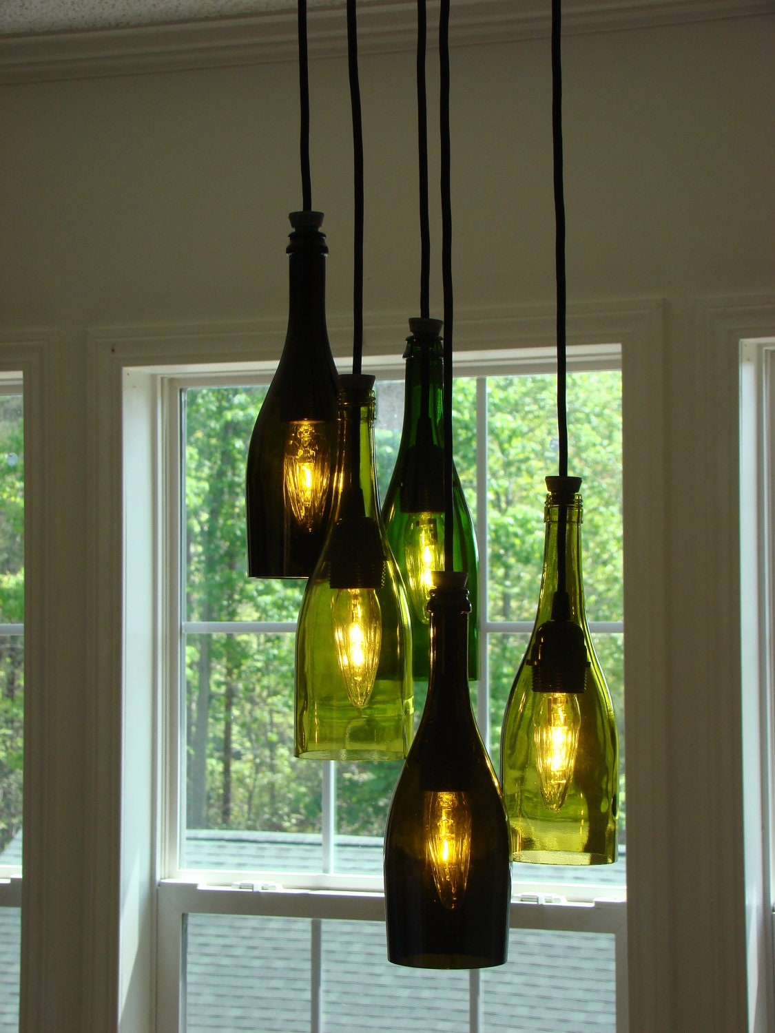 cascading wine bottle chandelier. Black Bedroom Furniture Sets. Home Design Ideas