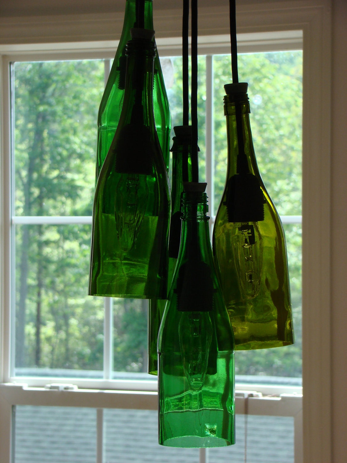 cluster wine bottle chandelier by glow828 on etsy. Black Bedroom Furniture Sets. Home Design Ideas