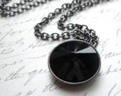 Swarovski Crystal Necklace, Black Necklace, Swarovski Crystal Round Rivoli, Jet Black Pendant with Gunmetal Chain