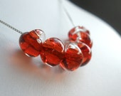 Lampwork Necklace, Red Necklace, Teardrop Glass Necklace, Garnet Red Teardrop, Sterling Silver Necklace, Boro Beads, Lamp work