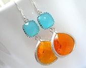 Orange Earrings, Silver Mint Earrings, Tangerine and Mint Earrings, Wedding, Bridesmaid Earrings, Bridal Earrings Jewelry, Bridesmaid Gifts