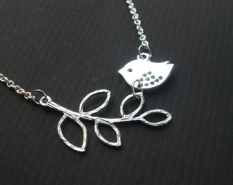 Bird Necklace, Bird and Branch, Silver Bird Necklace, Sparrow on a Branch Necklace, Silver Necklace, Leaves on a Branch, Sweet Birdie, Gift