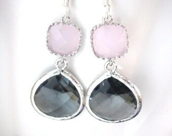 Gray Earrings, Pink Earrings, Grey Earrings, Charcoal, Glass, Wedding Jewelry, Bridesmaid Earrings, Bridesmaid Jewelry, Bridesmaid Gifts