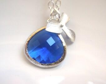 Blue Necklace, Cobalt Blue Pendant, Silver Necklace, Silver Orchid Flower Necklace, Glass Necklace, Bridesmaid Necklace, Bridesmaid Gift