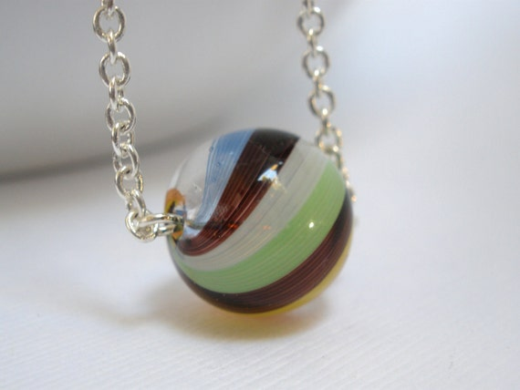 Hand Blown Glass Necklace, Rainbow Lampwork Pendant, Green, Brown, Orange, White, Blue, Multicolor Ball with Silver Plated Chain, Gift