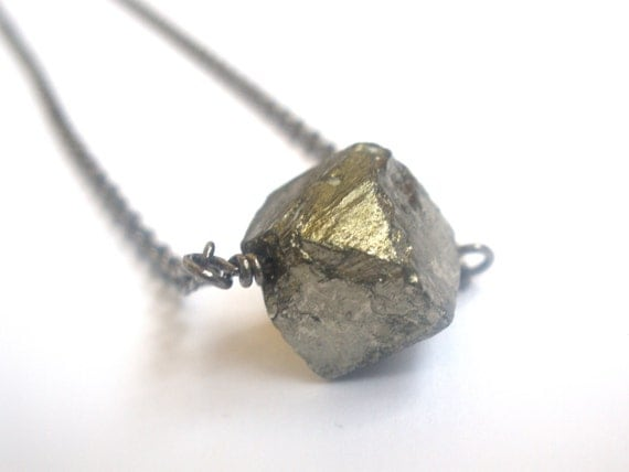 Pyrite Necklace, Pyrite Nugget Necklace, Fools Gold Necklace, Cube Bead, Gemstone Necklace, Gem, Gold, Gunmetal, Raw Quartz, Birthday Gift