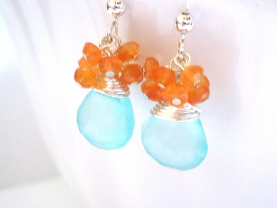 Aqua Blue Earrings, Blue Earrings, Orange Earrings, Aquamarine Turquoise, Mint Earrings, Chalcedony, Tangerine, Carnelian, Sterling Silver