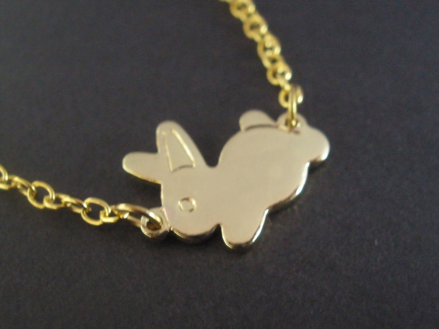 gold necklace rabbit necklace bunny necklace gold by
