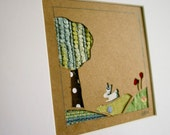 Bunny and Poppies Fabric Papercut with frame