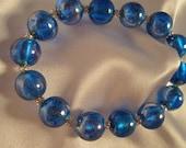 Glass Bead Stretch Bracelet Blue Silver Round Beads