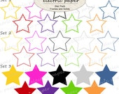Star Frames and Solids  Set of 30 Embellishments/Elements  Can be used individually or layered - instant download