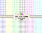 Pastel Gingham Digital Paper Pack - Pastels in Gingham Print - Instant Download
