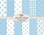 Blue Patterns Digital Paper Pack - heart, dots, polka dot, squares - 12 digital jpg files 300 dpi - Instant Download