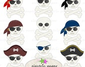 Cute Skull Clip Art Set - 9 Pirate Skulls - Instant Download  PNG and JPG