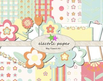 May Flowers - Digital Papers and Clipart Mega Kit - instant download