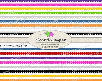 Digital Borders Clip Art Set - Includes 3 Sets of Borders in 10 Colors Each  -  Borders can be layered for cute effects - instant download