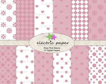 Pink Digital Paper Pack - hearts, polka dot, squares dots - Pretty Pink Basics - Instant Download