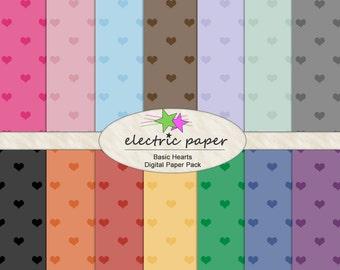 Heart Digital Paper Mega Pack - 14 DIGITAL Papers - Instant Download