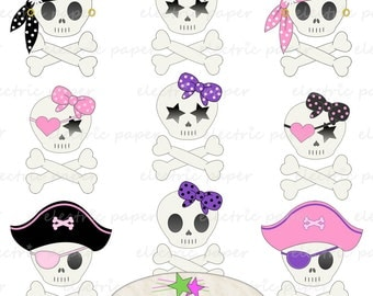 Cute Girly Skull Clip Art Set - 9 Girly Pirate Skulls  Instant Download PNG and JPG Files Included