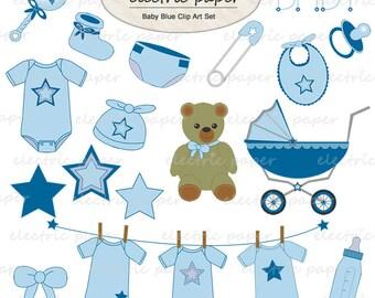 Baby Blue Star Clip Art Set - instant download