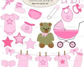 Baby Pink Star Clip Art Set - Instant Download