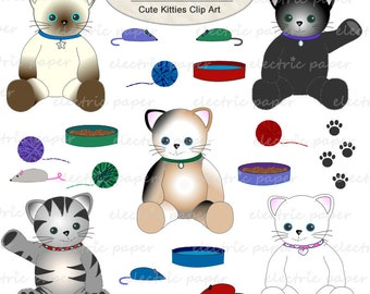 Cute Kittens - Cats and Cat Toys Clip Art Set - yarn - paw prints - instant download