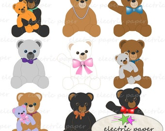Teddy Bear Clip Art - Stuffed Bears with bows - Personal and Small Commercial Use - Instant Download