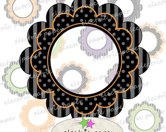Halloween Fancy Scallop Clipart Frames / Journal Tags - Instant Download