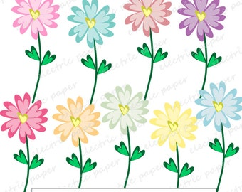 Cute Heart Flowers Clipart Set - 9 digital clipart images - Flowers - instant download