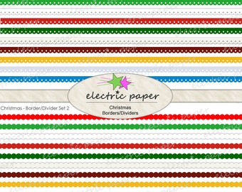 Christmas Borders - Digital Borders / Dividers Clip Art Set - Instant Download - Includes 3 Sets of Borders in 10 Colors Each