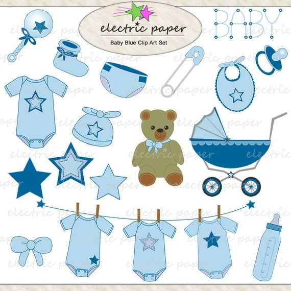 Baby Blue Star Clip Art Set instant download by ElectricPaper