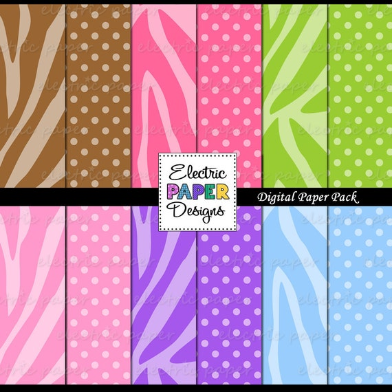 Zebra and Polka Dot Background Paper - Zebra Print with Coordinating Dot Pattern - Instant Download