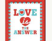 Art Print 8x10, Love is the answer, red & blue, white, unframed, under 25