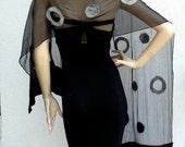 Long Nuno felted silk scarves, shawl - black, gray