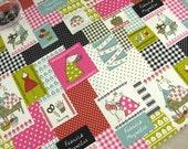 "L317A - Japanese Cotton Linen Fabric - Sewing Goat  - deeppink - 27"" x 19""(70 x 50cm)"