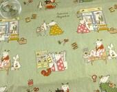 """L357D - Cotton Linen Fabric - Handmade Life of Goat Drucker Couple - Light grey green - 27"""" x 19""""(70 x 50cm)"""